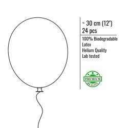 Ballonger 24-pack - 3 färger - silver, vit och smaragdgrön