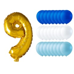 Ballonger mix 24-pack guld/blå